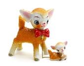 Vintage Deer with Baby, Sugar Glaze Deer, Rare Christmas Deer, Reindeer, Deer on Chain, Salt Glaze, Christmas Kitsch, 1950s, Epsteam