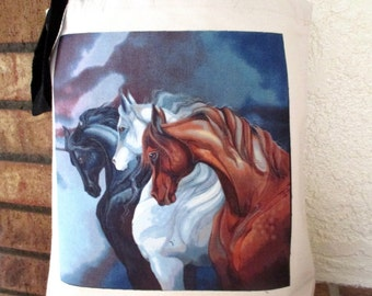 Wild Stallion Horses Large Grocery Bag Tote Canvas