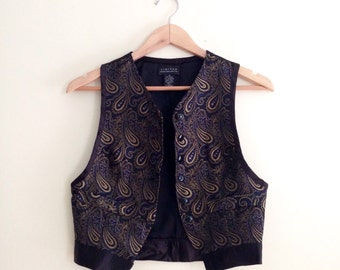 Vintage 90s Paisley Vest  / Boho Layering Vest / Bohemian Menswear Cropped Vest / Black & Blue