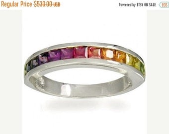 Valentines Day Sale Multicolor Rainbow Sapphire Half Eternity Band Ring 14K White Gold (2ct tw) SKU: 663-14K-Wg