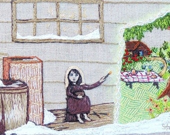 "Embroidery and mixed media folk art Illustration""The Little Match Girl"""