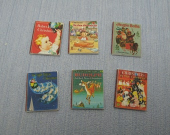 Gaël Miniature decorative 6 shabby chic christmas child books, vintage books  1:12 Scale Or 1/6 Scale Dollhouse Miniature playscale