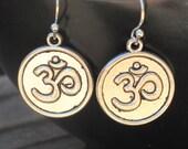 Om Earrings, Yoga Earrings, Yoga Jewelry, Om Jewelry, Yoga Gift, Spiritual Jewelry, Hindu Jewelry, Om Charm, Silver Om