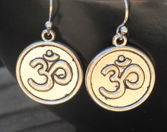 Om Earrings, Yoga Earrings, Yoga Jewelry, Om Jewelry, Yoga Gift, Spiritual Jewelry, Hindu Jewelry, Om Charm, Silver Om