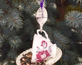 Tea Cup Bird Feeder with Hand Stamped Bent Spoon- Early Bird Special -Perfect Gift