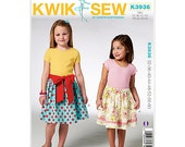 Sewing Pattern - Kwik Sew 3936 - Girls Pull-on Skirts - Girls Skirt Pattern - Elastic Waist Band - Sized by Height