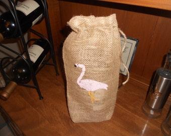 PINK FLAMINGO BURLAP Wine Bag