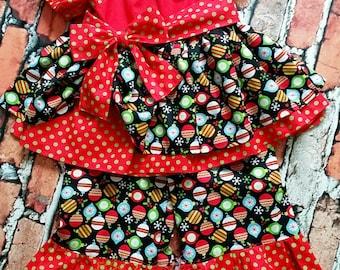 OTT Christmas outfit, Christmas top, Christmas ruffle pants, Christmas pageant outfit, Christmas ruffle set, Christmas OOC