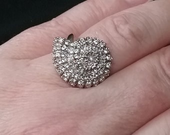 CZ Statement Ring - Vintage CZ Ring - Summer Ring - Shell Ring