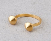 gold ring- 24K gold plated adjustable ring, pure silver ring. open, studs ring
