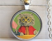 Cat Necklace, Smarty Cat, Hipster Jewelry, Cat Pendant