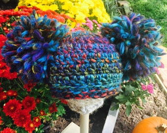 Ready to ship - Crochet Large Pompoms Beanie - Photo Prop - Blueberry - Double pompom beanie - Newborn Pompom beanie - baby double pompom
