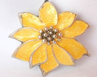 Vintage Yellow Poinsettia Flower Brooch Pin Flecked Glitter Enamel on Gold Tone Metal Holiday Christmas Gift 1980's Excellent Condition
