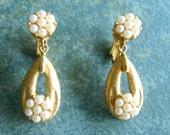 Vintage Trifari Earrings Dangle Pearl Clip Gold Tone