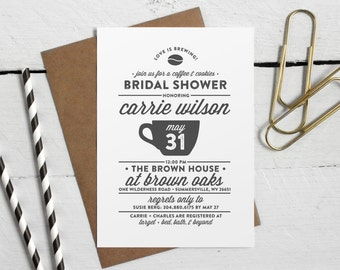 Printable Bridal Shower Coffee Invite - Love Is Brewing Printable Bridal or Couples Shower Invitation - Modern Blush and Stripes Design PDF