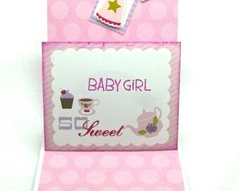 Welcome Baby Girl pop up card, Pink sparkle, Fairy Tale Theme, So Sweet Baby Girl
