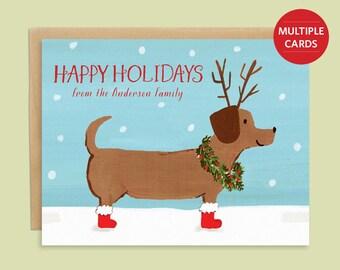 Dachshund Christmas Card Dachshund through the