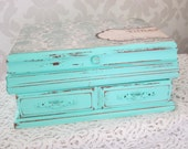 shabby chic mint jewelry box, distressed, refinished