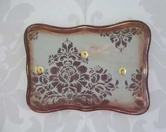 Brown Damask, Shabby Chic Jewelry Display, Necklace Hanger, Ring Display, Bracelet Display, key hanger