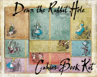 Digital Paper Pack Down the Rabbit Hole Book Kit CAHIER size
