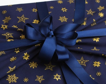 Reusable Gift Wrapping, Christmas Navy with Gold Snowflake Print Fabric with Navy Ribbons Sewn on