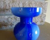Retro 1972 Moretti Carlo Murano Cobalt Swirl Cased Art Glass Vase Gold Medaille Label