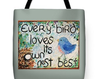 tote bag blue bird colorful large tote Peggy Johnson every good color