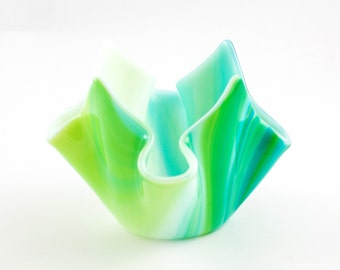 Fused Glass Candle Holder, Glass Votive Holder, Tea Light Holder, Blue and Green, Modern Home Decor, Small Bud Vase, Holiday Gifts