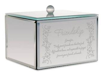 Engraved Mirrored Glass Friendship Keepsake Box