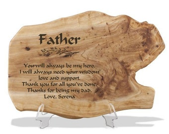 Engraved Fir Wood Plaque for Dad