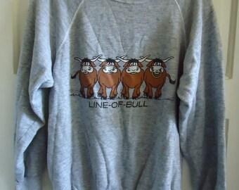 Vintage 80s Triblend CREWNECK Sweatshirt Line Of Bull sz S