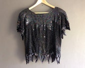 80s sequinned and beaded blouse