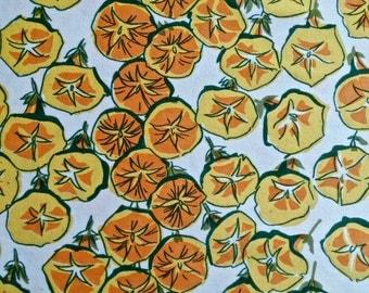 1960's David & Dash Yellow Morning Glories Fabric 4 yd x 44 in