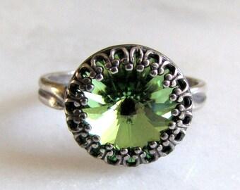 Estate Style Vintage Peridot Swarovski Crystal Ring Adjustable Antique Silver Victorian Crown