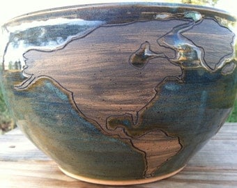 Globe Bowl, Earth Pottery, World Map Pottery Bowl, Pottery Serving Dish