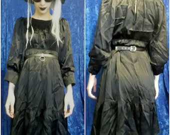 Join Our Cult Black Satin Dress witchy witch goth 70s party