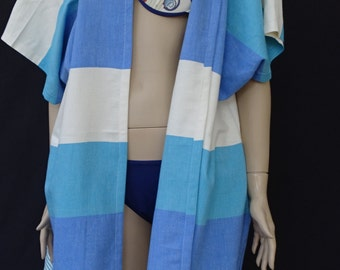 Women's blue, turquoise and white striped soft light weight cotton peshtemal beach poncho, beach cover up,  spa poncho.