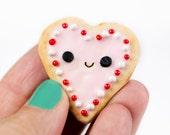 Miniature Sugar Cookie Heart Clay Magnet