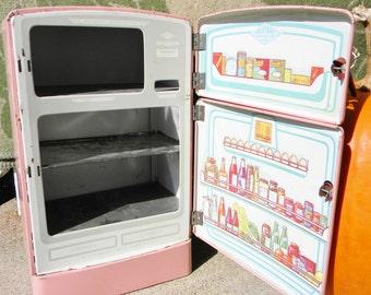 Wolverine Pink Tin Frigidaire Refrigerator~ Vintage 1950s Childrens Metal Toy