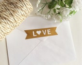 Love Banner Gold Foil Envelope Seals, Gold Foil Stickers - Set of 24 - wedding invitation decoration - wedding favor stickers