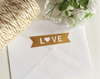 Love Banner Gold Foil Envelope Seals, Gold Foil Stickers - Set of 24 - wedding invitation decoration - wedding favor stickers