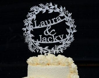 Personalized Wedding Cake Topper with Name, Custom Acrylic Mr and Mrs Cake Topper, Personalized with YOUR Last Name or 2 First Names #127