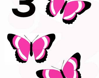 Three today - butterfly birthday greeting card