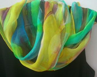 Hand Painted Chiffon Scarf for Ladies. Stripe Design Hand Painted. Canary Yellow, Turquoise, Aqua, Green. 16x61 in Chiffon Scarf