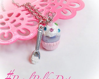 Cupcake Necklace Glass Pearl Pendant Birthday Party Cake Gift