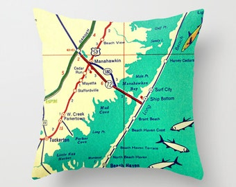 Custom New Jersey Map Pillow Cover, New Jersey Home, Long Beach Island New Jersey Gift, Cape May Newark Any City NJ Strong, New Jersey Shore
