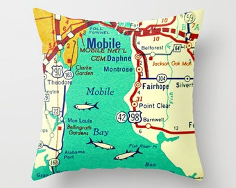Alabama Pillow Cover, Custom Alabama Map Pillow, Sweet Home Alabama Gifts for Him, Mobile Bay, Orange Beach Gift, Gulf Shores, Josephine AL