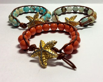 Beach Jewelry - Single Wrap Bracelet - Leather wrap -  Starfish bracelet - Boho Friendship  Bracelet