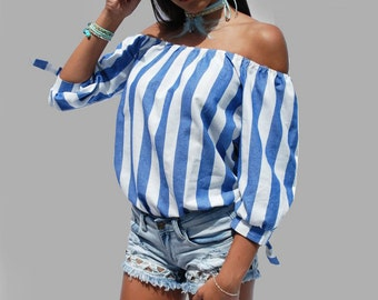 Ladies Off the Shoulder White and Blue Crop Top