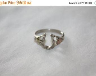 Valentines Sales Vintage Horse Shoe Ring, Sterling 12kt Gold Ring, Horseshoe Ring, Engagement Promise Ring, Boho Luck Ring,  1940s  Jewelry